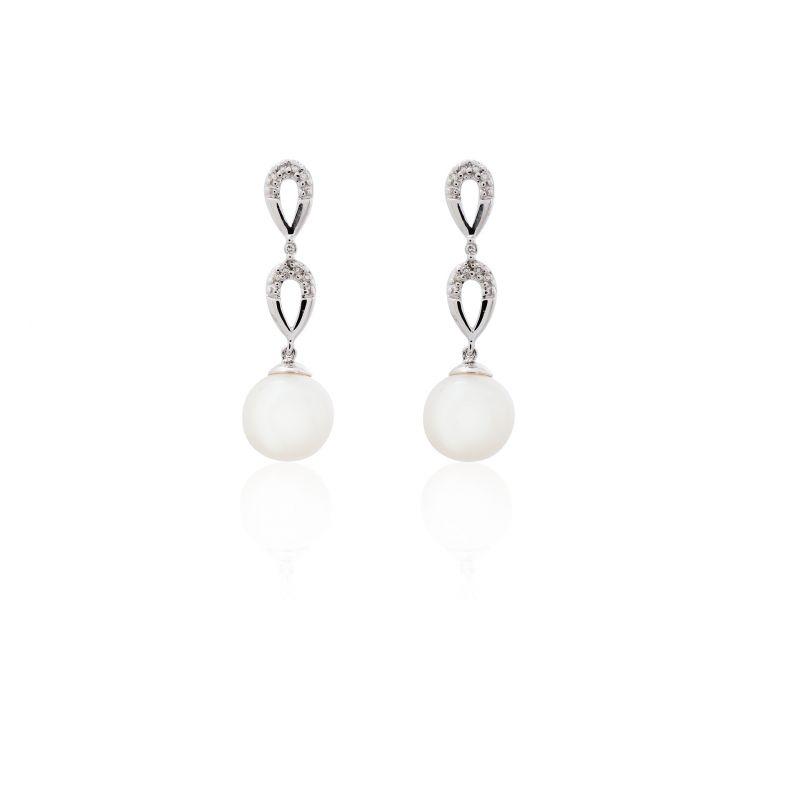 Pendientes Oro blanco 18kts perla y diamante