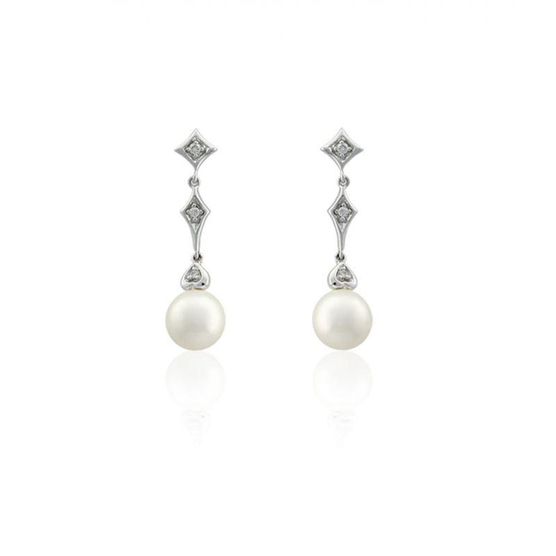 Pendientes Oro blanco 18 kts diamantes y perla