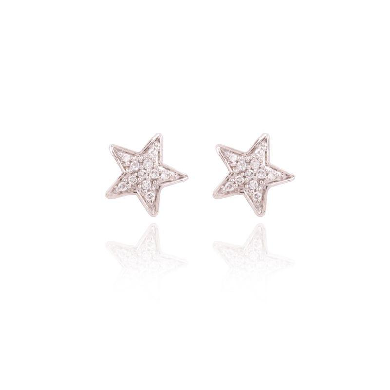 Pendientes Oro blanco 18k y diamantes estrellas