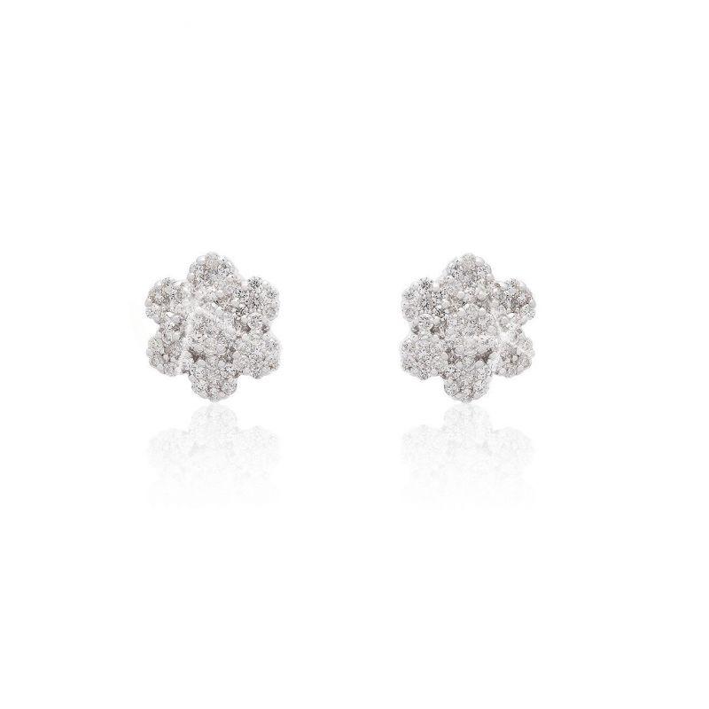 Pendientes Oro blanco 18kts diamantes flor