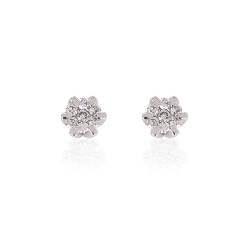 Pendientes Oro ley 18k Diamantes Flor