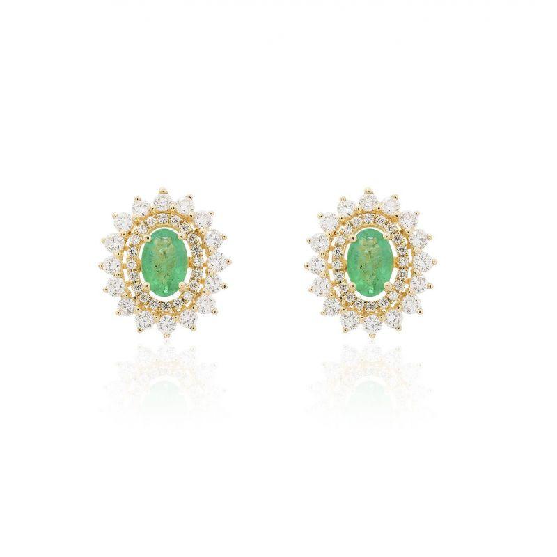 Pendientes Oro 18kts diamantes y esmeralda