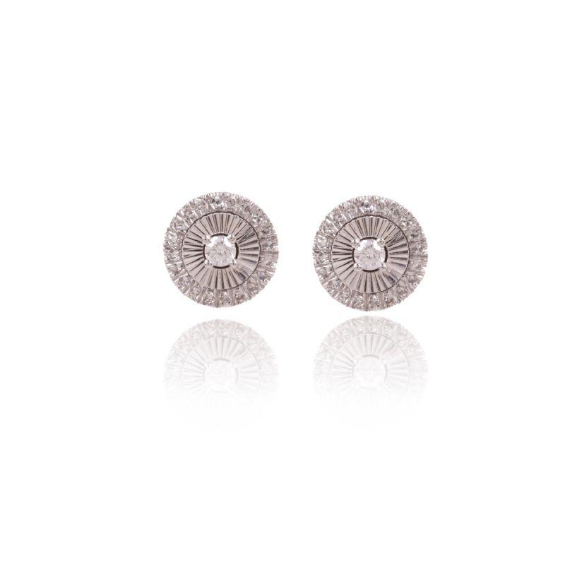 Pendientes Oro blanco 18k y diamantes roseta