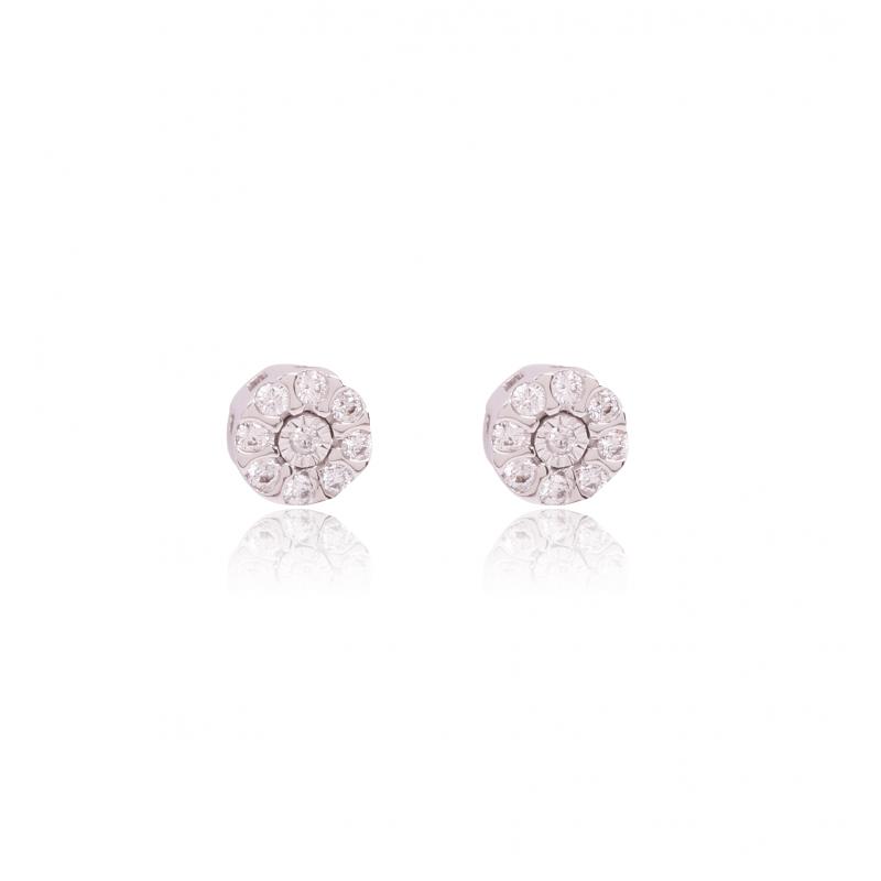 Pendiente Oro 18k roseta diamantes