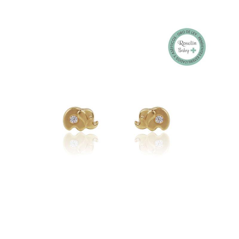 Pendientes Baby + Oro18k Elefante y circonitas