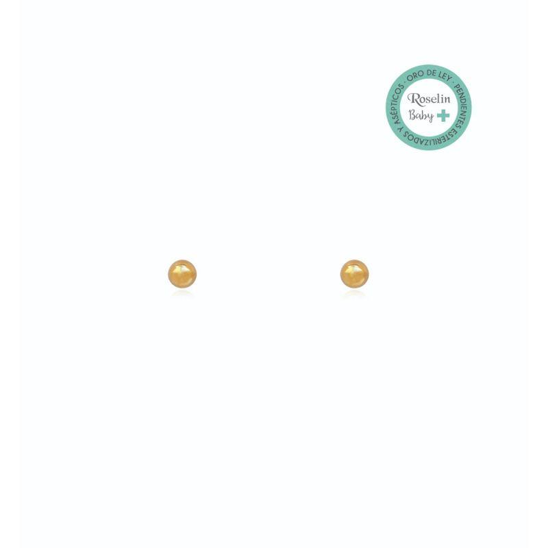 Pendientes Baby + Oro 18k Bola