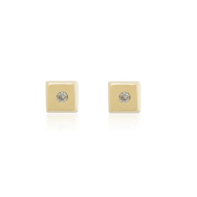 Pendientes bebé Oro 18k y diamante cuadrados