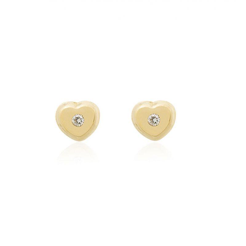 Pendientes bebé Oro 18k y diamante corazón