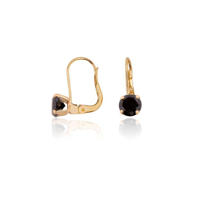 Pendientes Oro 18k Oro circonita negra garras finas