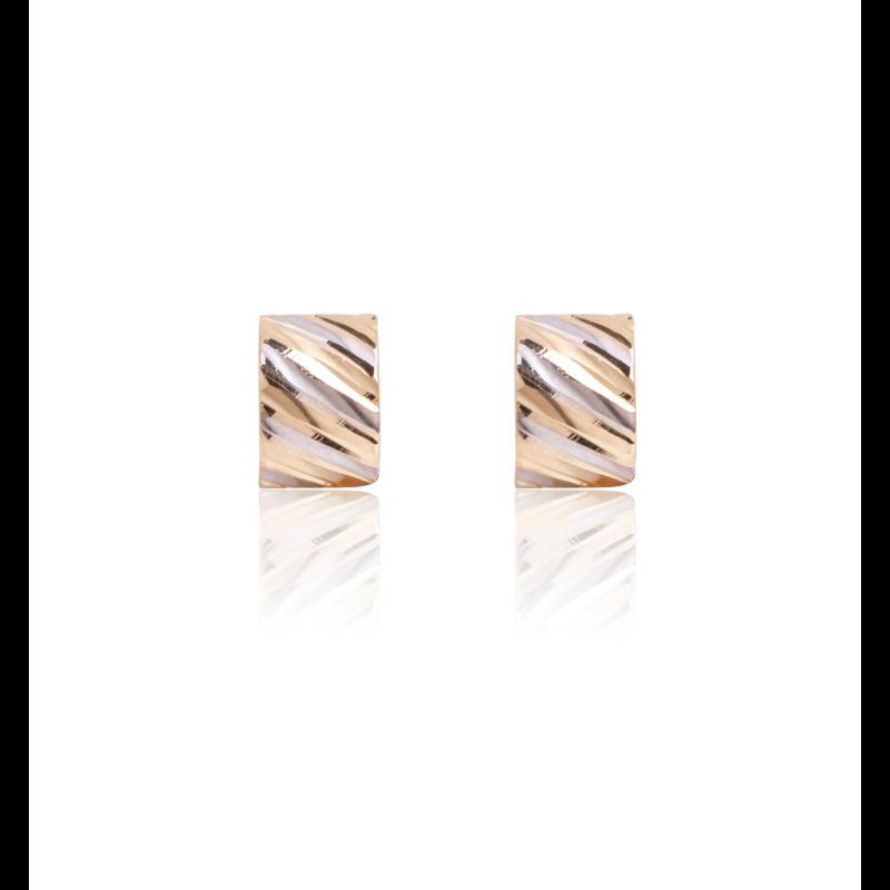 Pendientes Oro 18k medio aro bicolor