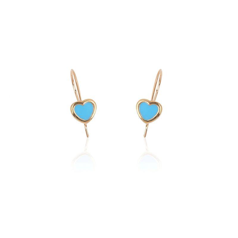 Pendientes oro 18k corazón azul