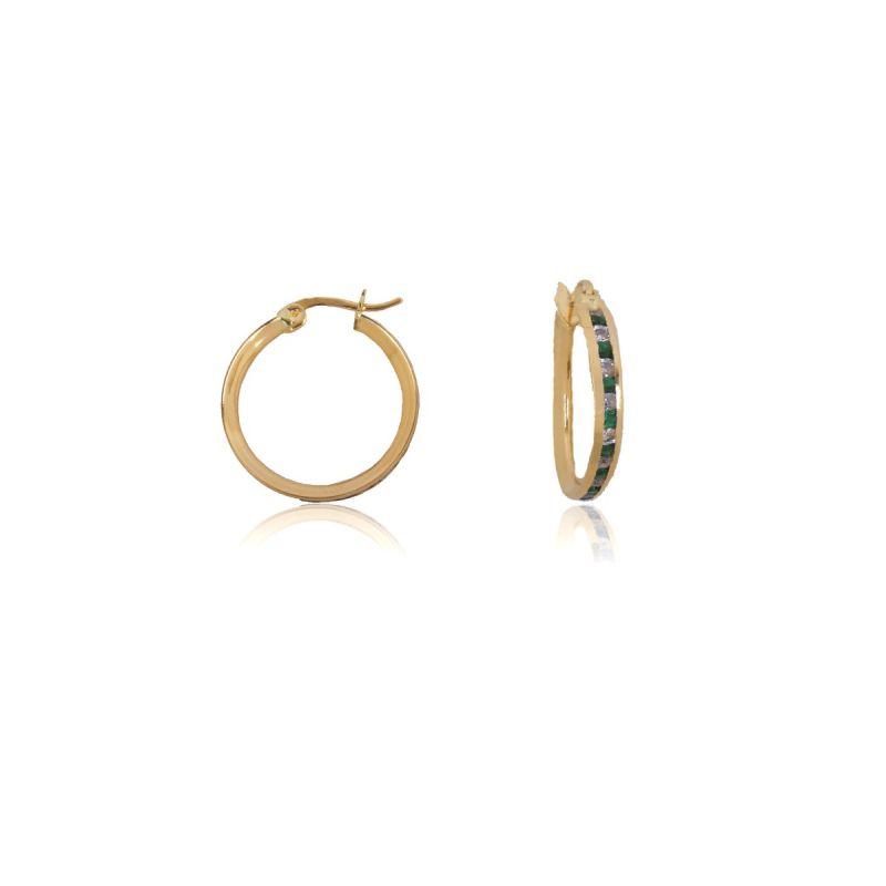 Aros Oro 18k piedras color verde 15mm
