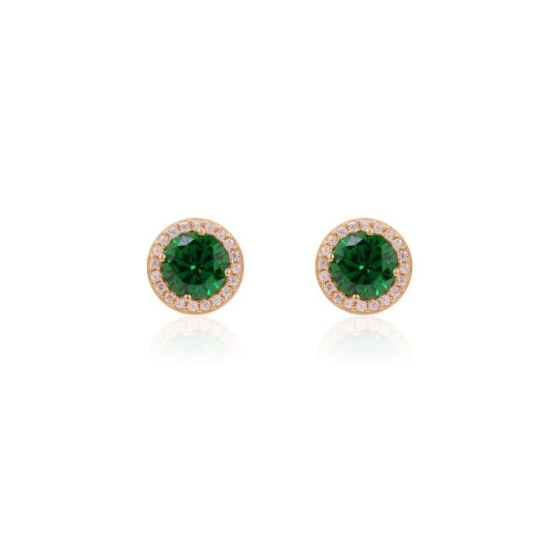Pendientes Oro 9k piedra color verde