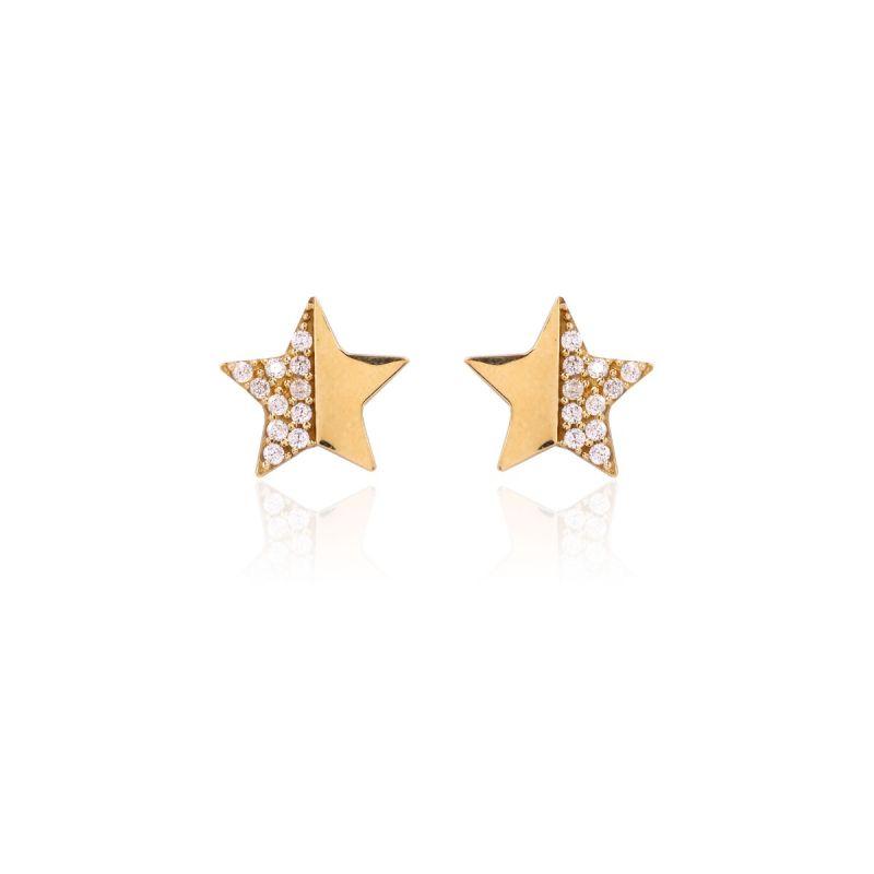 Pendientes Oro 9k y circonitas Estrella