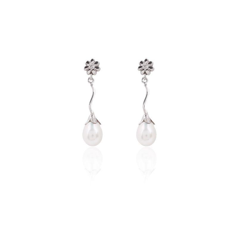 Pendientes Oro blanco 9k Perla y flor