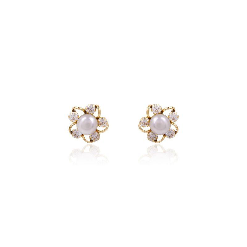 Pendientes Oro 9k perla y circonitas flor