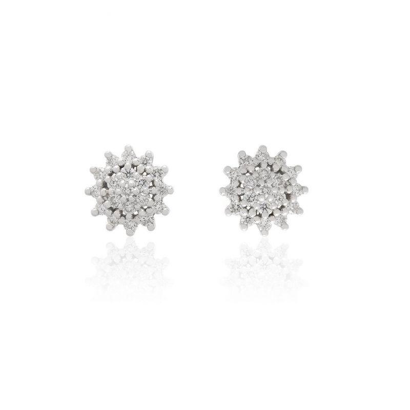 Pendientes Oro blanco 9kts roseta diamantes