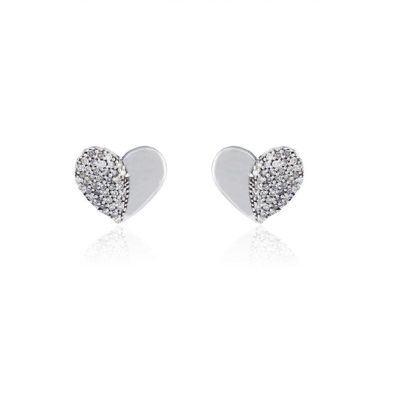 Pendientes Oro blanco 9k y diamantes corazón