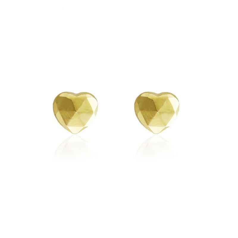Pendientes Oro 9k corazón tallado