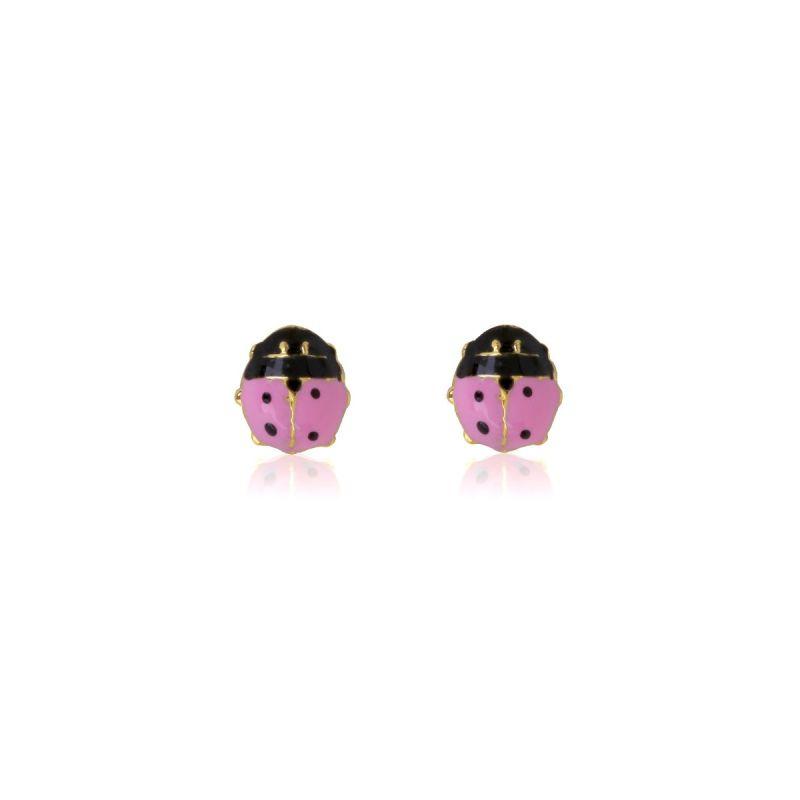 Pendientes bebé medianos Oro 9kts mariquita rosa