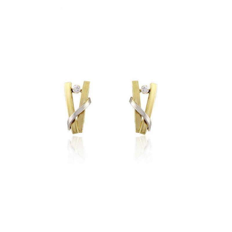 Pendientes Oro 9k bicolor ballestilla