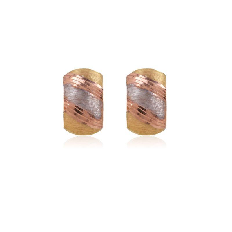 Pendientes Oro 9k tricolores diagonales