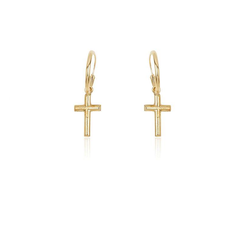 Pendientes Oro 9k aro con cruz