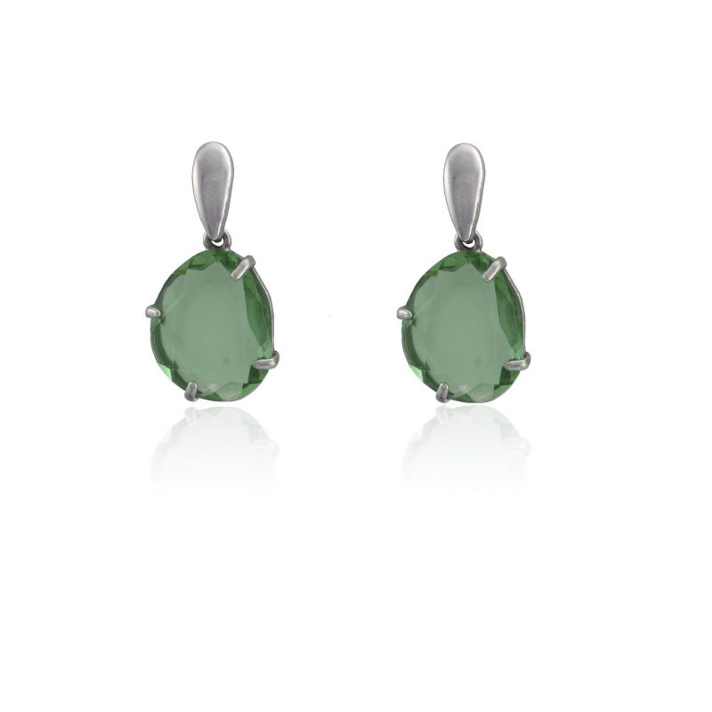 Pendientes plata piedra verde Roselin Trendy