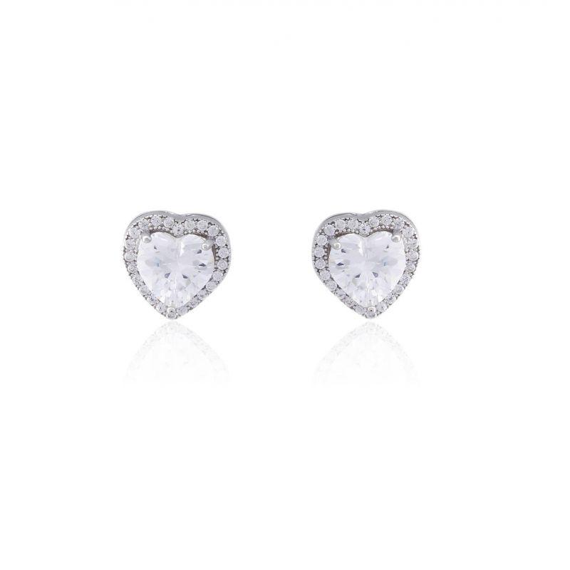 Pendientes plata piedras corazón Luxilver
