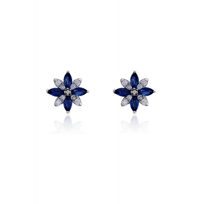 Pendientes Plata flor azul Luxilver