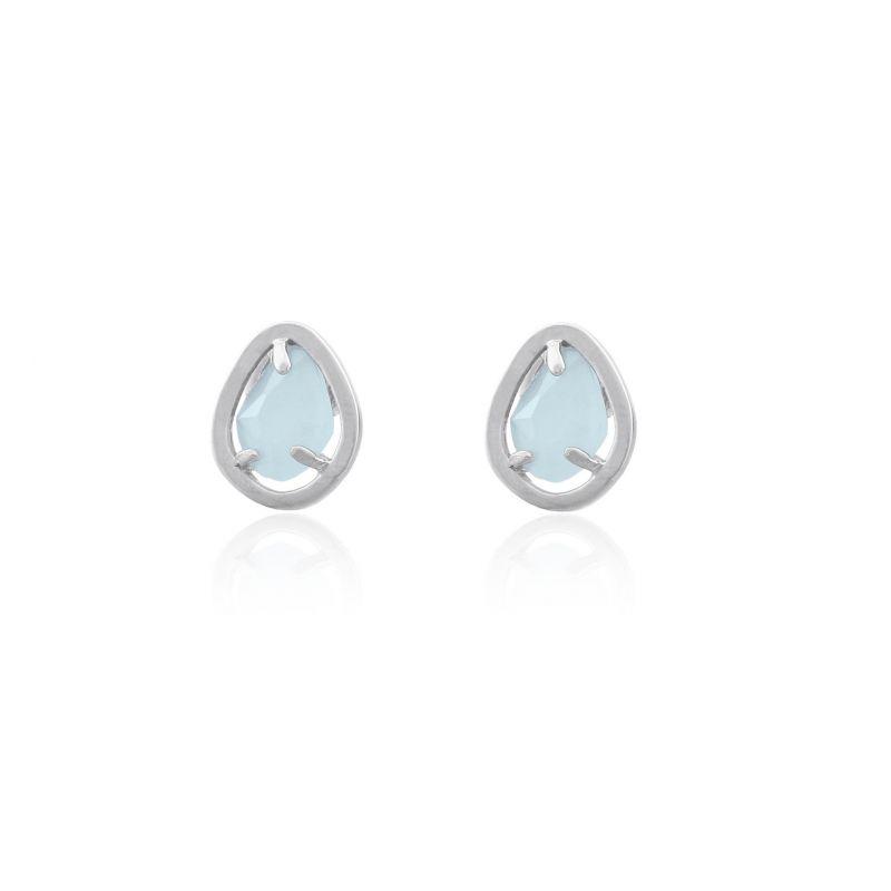 Pendientes plata y piedra azul Luxilver