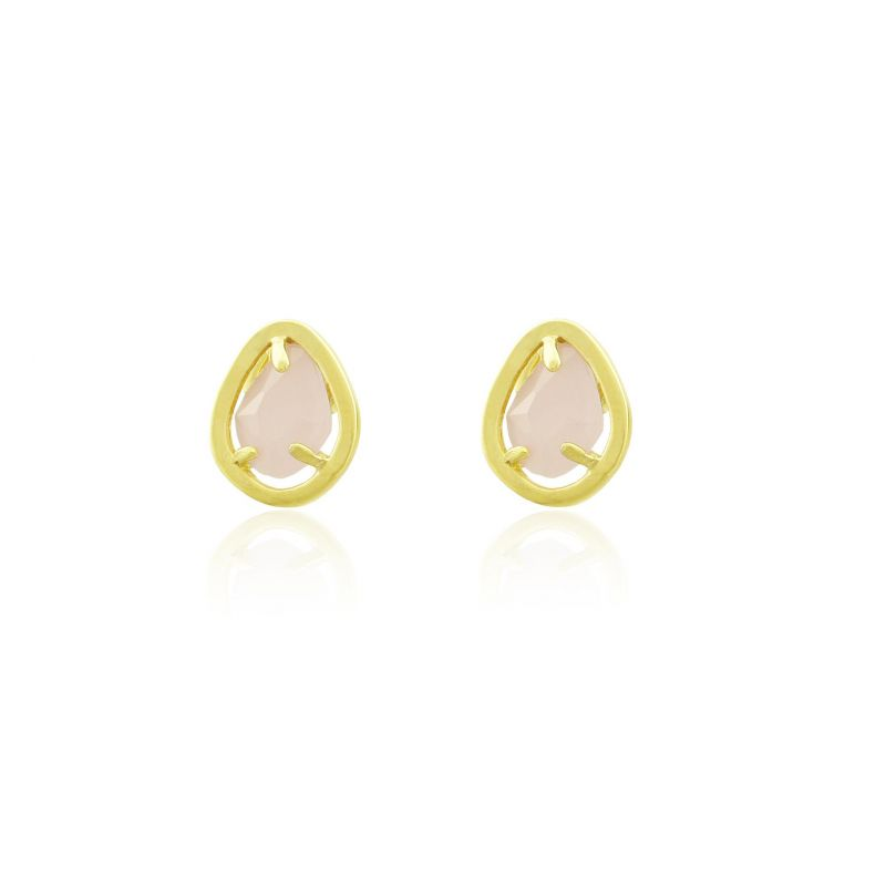 Pendientes plata y piedra rosa Luxilver