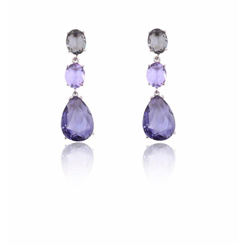 Pendientes Plata Piedras Violetas Color