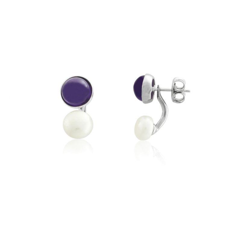 Pendientes dobles perla plata Luxilver
