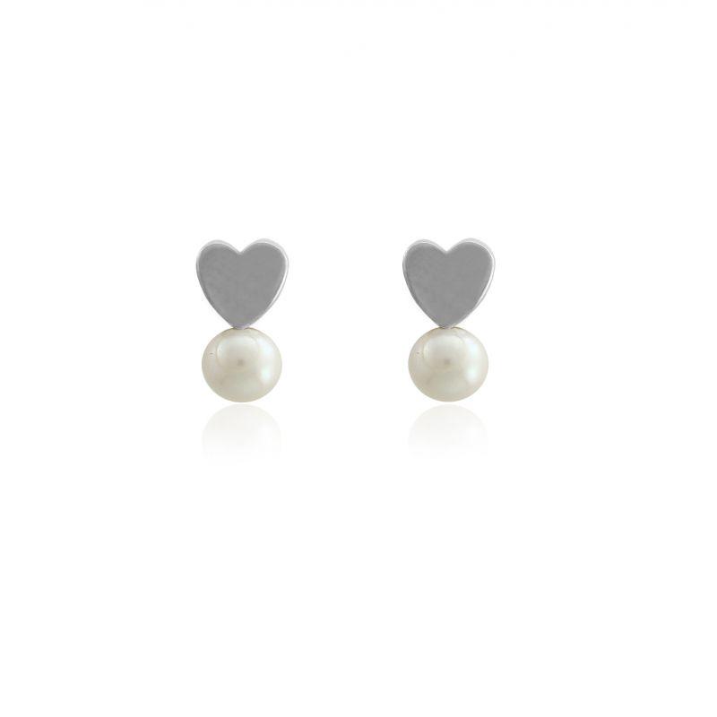Pendientes niña plata y perla