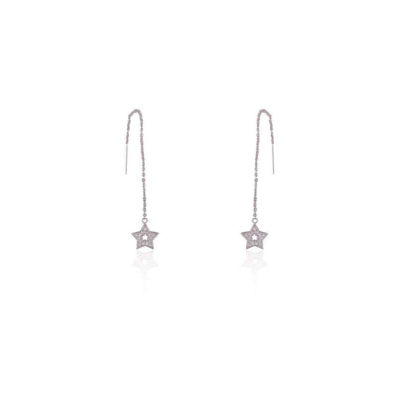Pendientes Largos Estrellas Circonita Plata