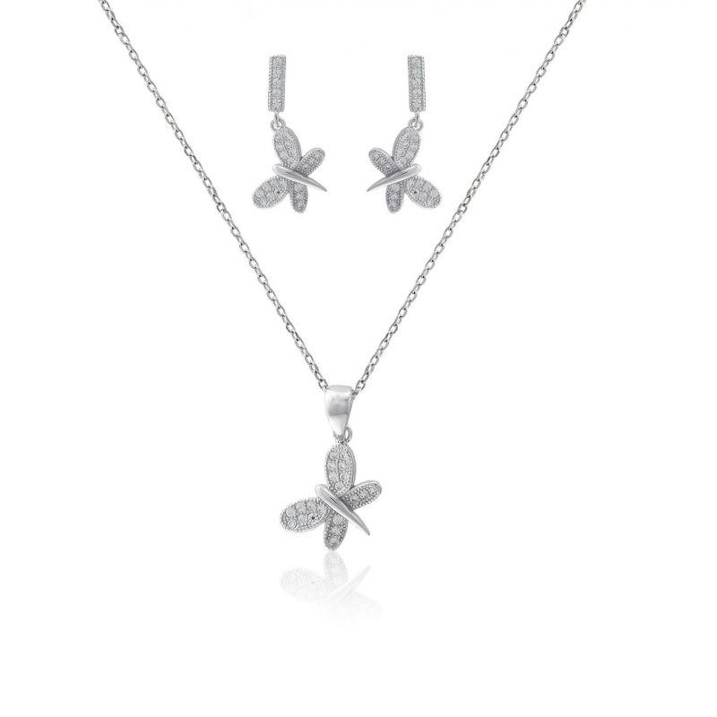 Conjunto plata y circonitas mariposas
