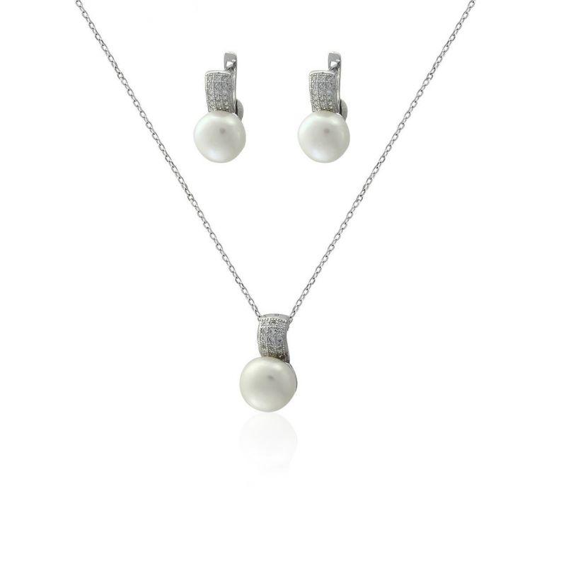 Conjunto plata y perlas