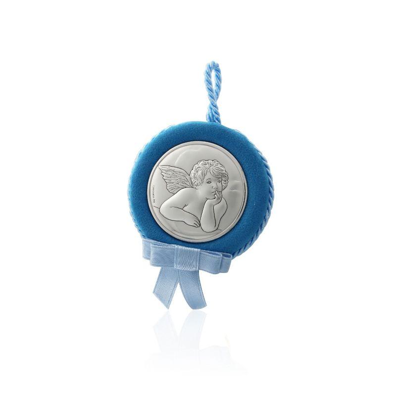 Medalla cuna ángel azul