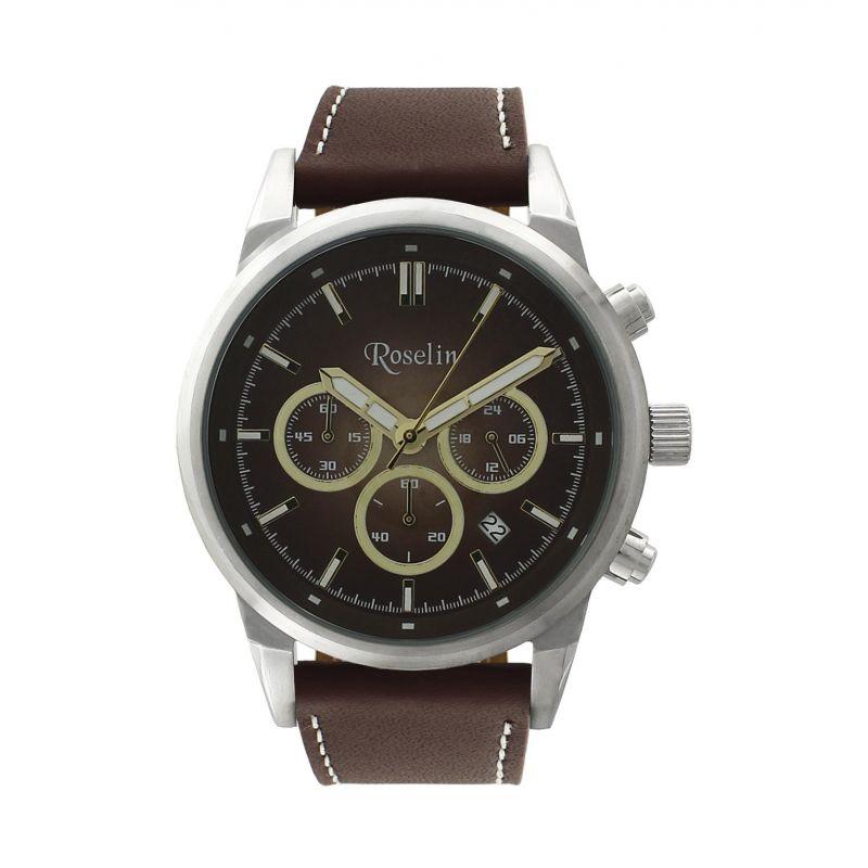 Reloj hombre acero y piel Roselin Watches