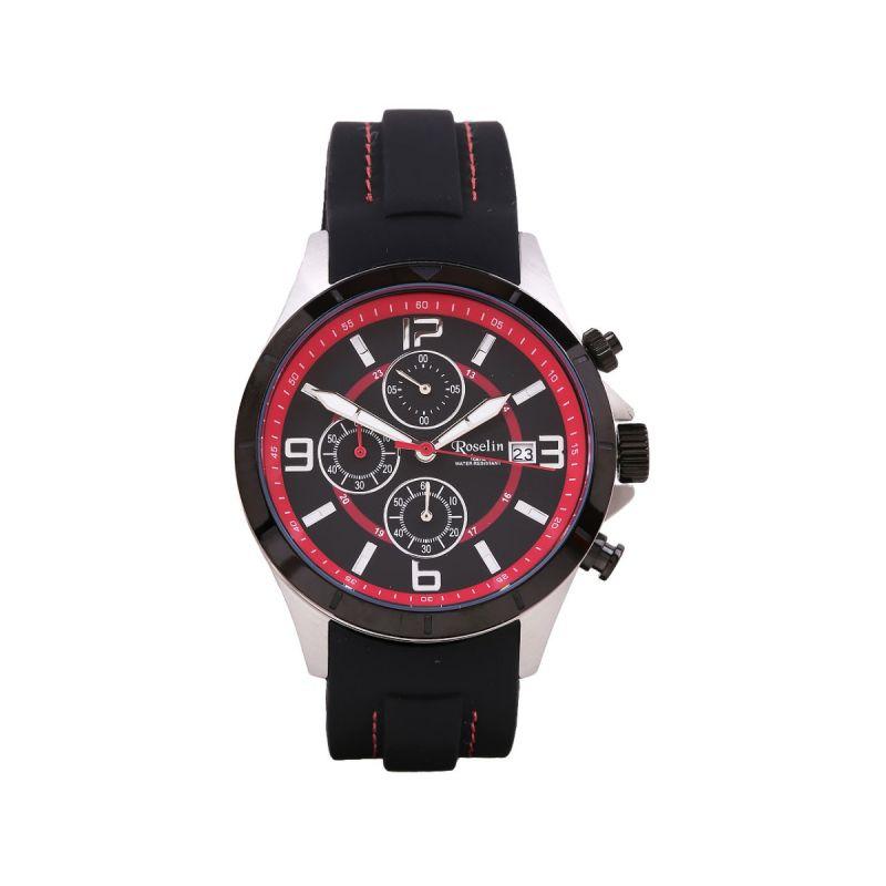 Reloj Caucho Multifunción Negro Roselin Watches