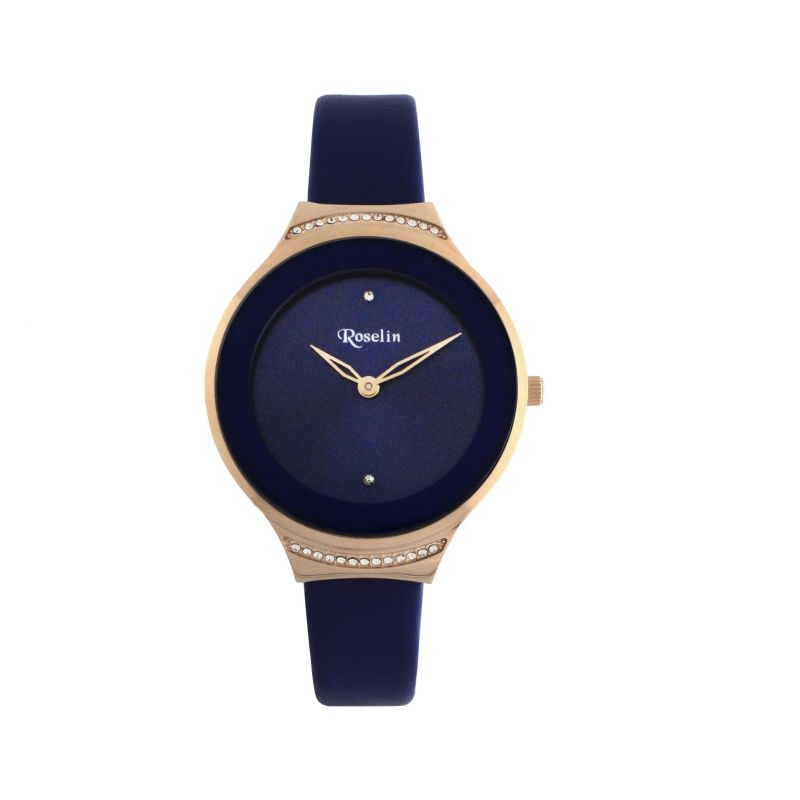 Reloj mujer piel acero y circonitas Roselin Watches