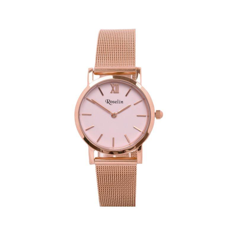 Reloj mujer acero rosa malla Roselin Watches