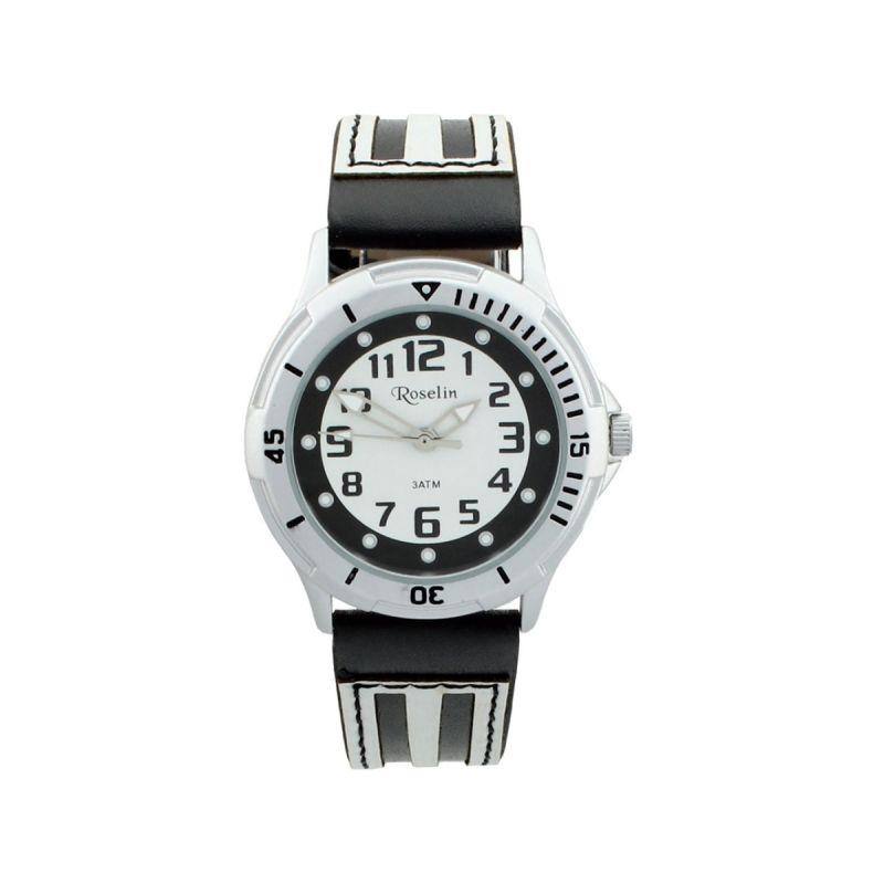 Reloj cadete piel negro y blanco Roselin Watches