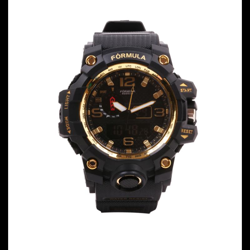 Reloj analógico digital dorado Sport Watch Fórmula Roselin