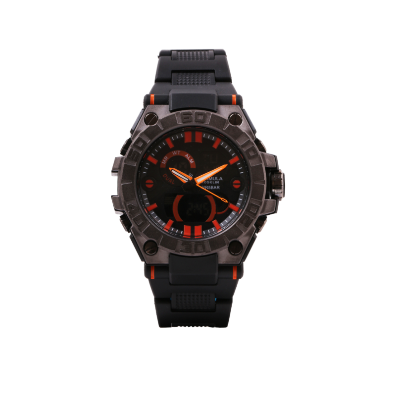 Reloj analógico digital negro y naranja Fórmula Roselin