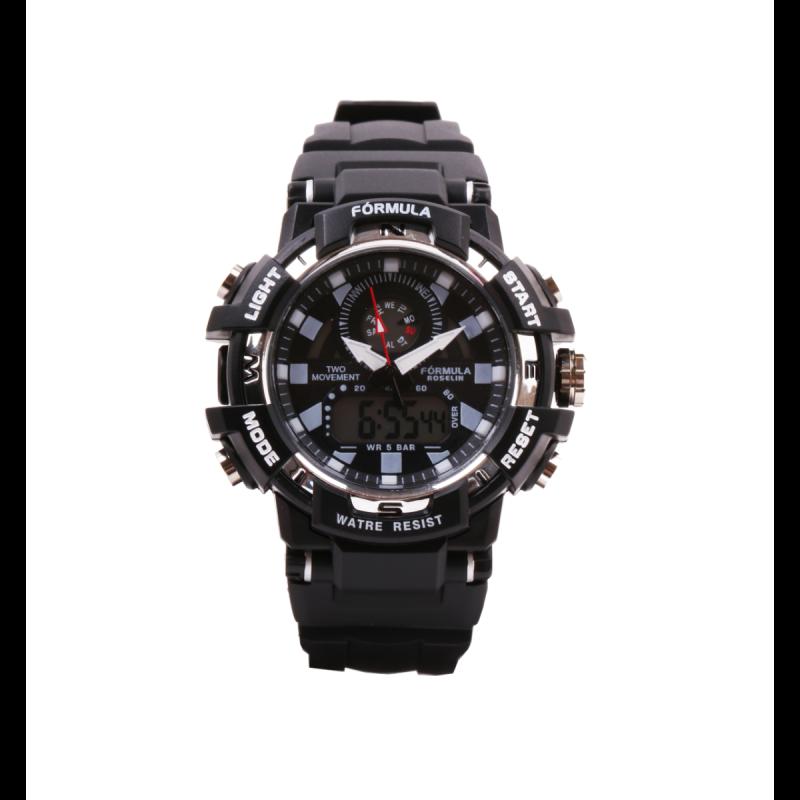 Reloj analógico digital negro y blanco Fórmula Roselin