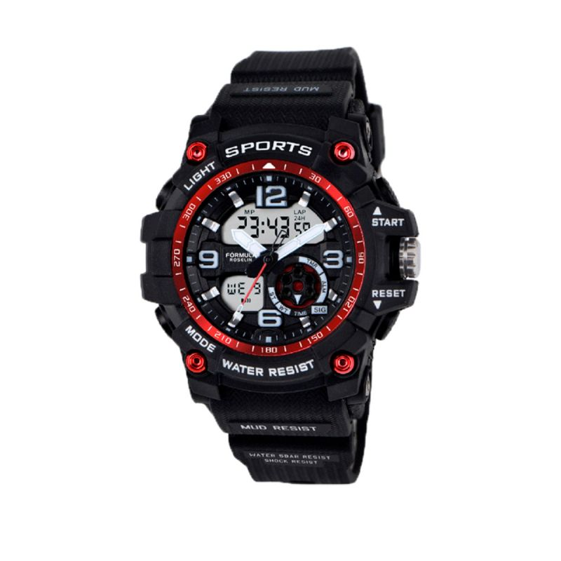 Reloj Analógico-Digital Caucho Negro Rojo Fórmula Roselin