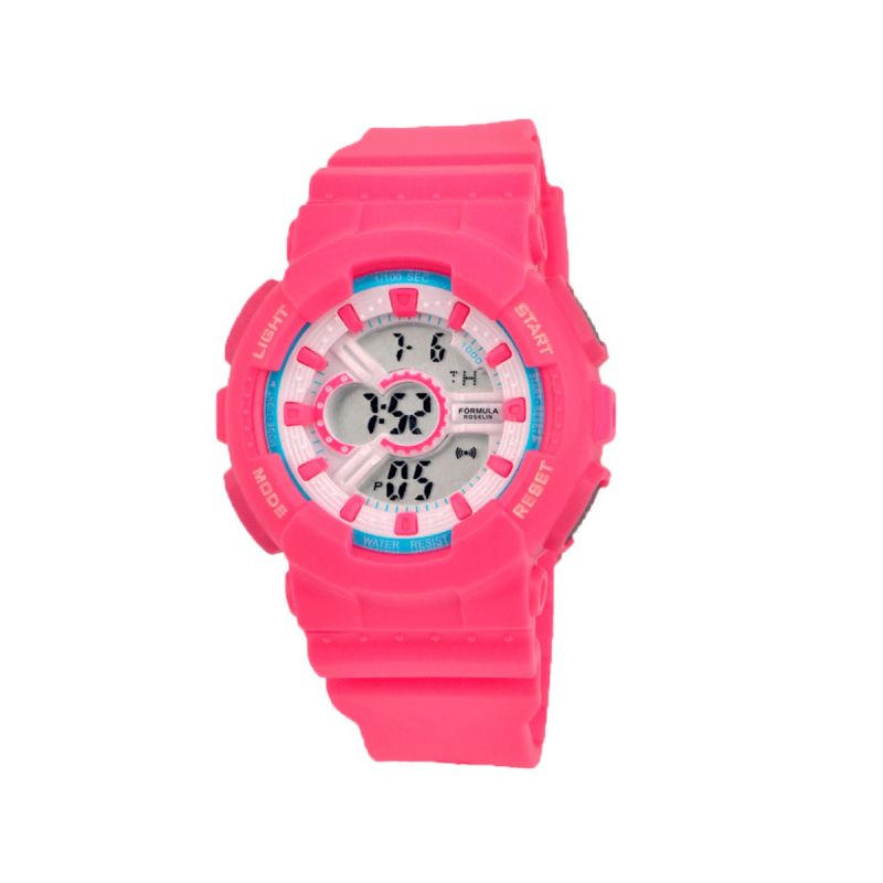 Reloj Digital Caucho Rosa Fórmula Roselin