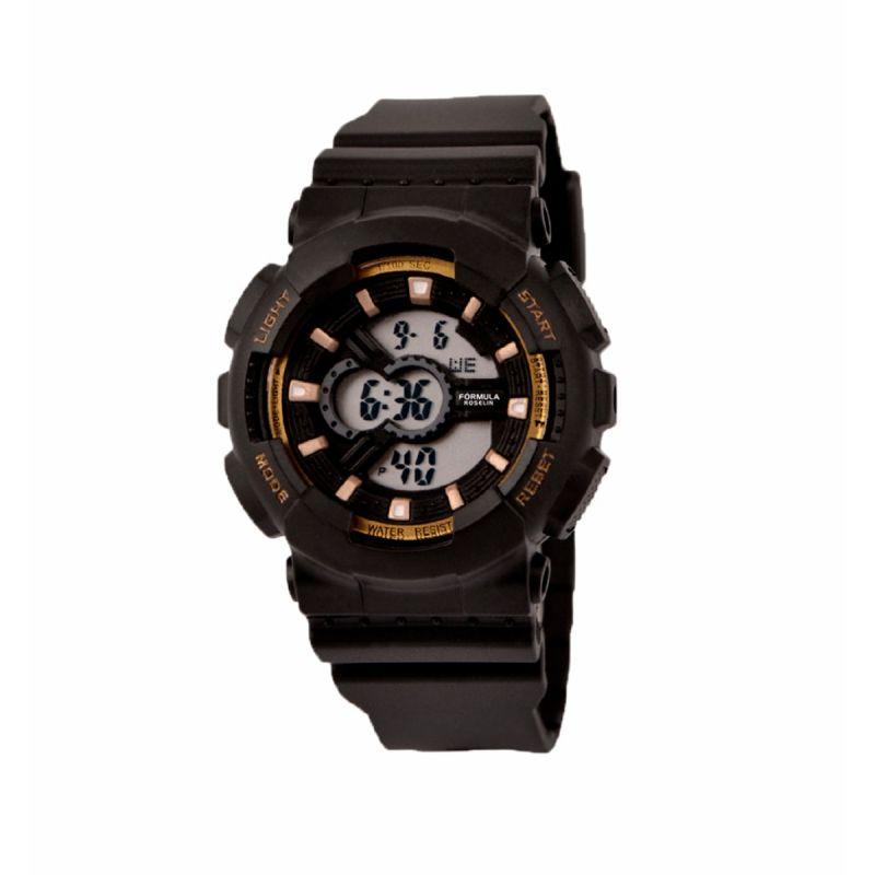 Reloj Digital Negro Dorado Formula Roselin